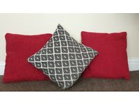 Red cushions/ black and white cushion and pink heart