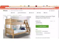 Stunning Triple Sleeper Bunk Bed Frame High Quality