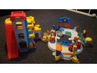 Fisher Price little people Garage and train track people and cars job lot