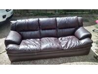 3 PIECE SOFA SUITE,1 3 SEATER,2 CHAIR IN CHOCOLATE BROWN LEATHER