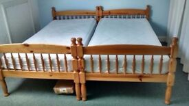 Single bed (2 of) Twins with memory foam mattresses great condition