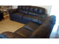 Can deliver Italian leather 3+2 seater brown leather sofas good condition