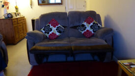 TWO SEATER REXCLINER SETEE TWO TONE BROWN. WILL SEPARATE FOR EASY REMOVAL, BUYER TO COLLECT. POOLE