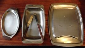 Stainless Steel Meat Dish and 2 Stainless Steel Dishes