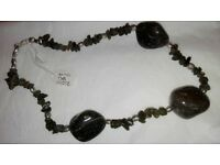 Real stones necklace made with sterling silver ends