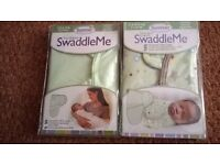 2 baby swaddles green/green stars or ivory/jungle 7-14 lbs £8 for 2 (new)