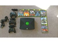 Original Xbox console with games & controllers