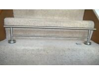 Double Towel Rail - stainless steel brushed chrome 70cm long x 13.5 cm wide Excellent condition