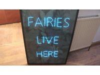 FAIRIES LIVE HERE NEON SIGN LIGHT ART BLUE GIRLS ROOM home decor decoration art tumblr little girl
