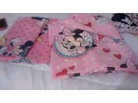 Minnie mousd curtains and toddler bed bedding