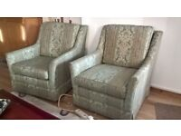 2 Upholstered Armchairs, Green and pale gold with fine red stripe