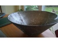 Large hand painted new bowl choice of silver or burnished gold