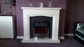 ELECTRIC FIRE SUITE. IVORY. UNUSED. PAID £499 WILL ACCEPT £300 OR £320 TO DELIVER.