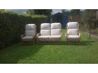 bamboo three piece suite cane furniture