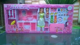 Kitchen play toy set with dolls