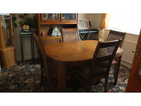 Dining room table and chairs with matching display cabinet