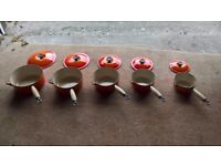 5 x Le Cruset Pan set in Volcano orange with lids in outstanding condition