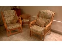 Conservatory cane/wicker armchairs - Purley