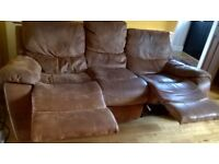 3 seater reclinable brown suede finish sofa good condition