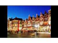 2 adults and 1 child tickets to Brugge from Hull. Departure 14 December - return 16 December