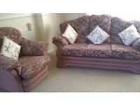 Large pink/grey 3 seater settee and chair