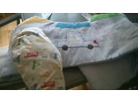 Boys cot bed quilt, matching sheets, curtains and bumper