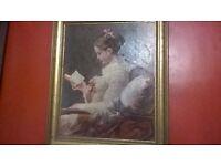 beautiful genuine antique oil painting