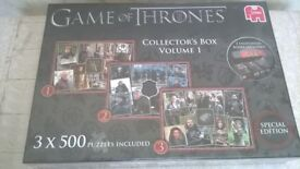 GAME OF THRONES COLLECTORS BOX JIGSAW X 2 SERIES 1 & 2 NEW UNOPENED