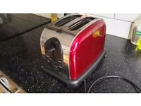 2 Slice Red/Silver Toaster - Used