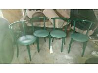 4 green dinning chairs good condition