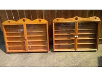 Display Cabinets Matching custom made in quality wood 2 off.