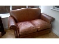 2 x Gorgeous Laura Ashley Antiqued Leather sofas, Settee, suite
