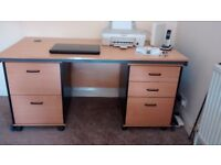 Beech effect large office desk with matching filing cabinets