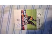 Newcastle United Champions league programme v FC Barcelona signed by Kenny Daglishj
