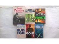 6 James Patterson Paperback Novels, Cross, Double Cross, Beach House, Gone, Private Vegas Torn Apart