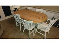 Farmhouse style Shabby chic Solid Pine table and six chairs