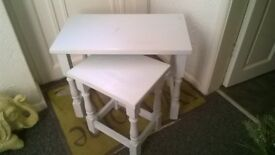 2 side tables shabby chic finished in duck egg blue and waxed