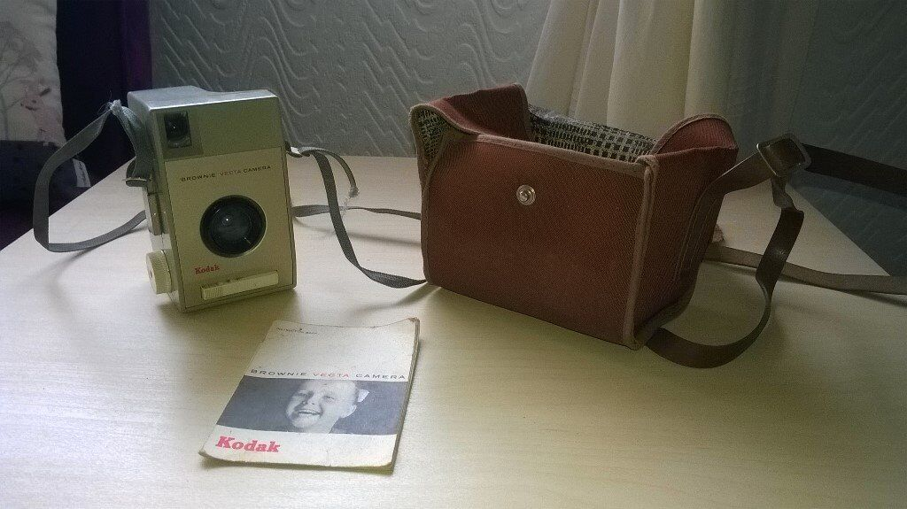 Vintage Brownie Vector Camera with carrying case and instruction book