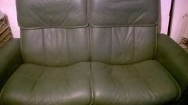Leather sofa and armchair green