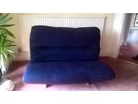 4ft Double Futon Sofa Bed in Pine and Navy