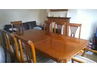 8 SEATER TABLE AND CHAIRS WORTH MUCH MORE THAN I'M SELLING IT FOR BARGAIN !!! £195 ONO CASH ONLY