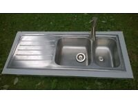 KITCHEN SINK IKEA ONE & HALF STAINLESS STEEL WITH TRENDY MIXER TAP AND WASTE