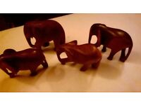 6 Wooden Elephants
