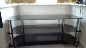 Black glass TV unit - as new