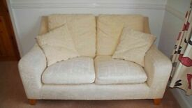 """2 Seater Settee Beige Textured Material very good condition 61"""" Wide x 31.5"""" High x 38"""" (max) Deep"""