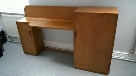 Vintage solid wood DESK with 2 cupboards