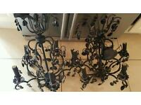 2 black chandelier lights