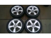 AUDI A1 ALLOY WHEELS GENUINE WITH DUNLOP WINTER SPORT TYRES 5X100