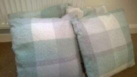 Green, grey and cream check cushions