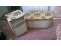 Vintage Floral Padded Bedside Cabinet with Door